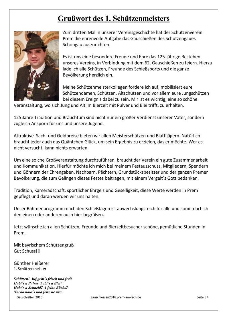Gauschützenfest - Schiessprogramm 2016